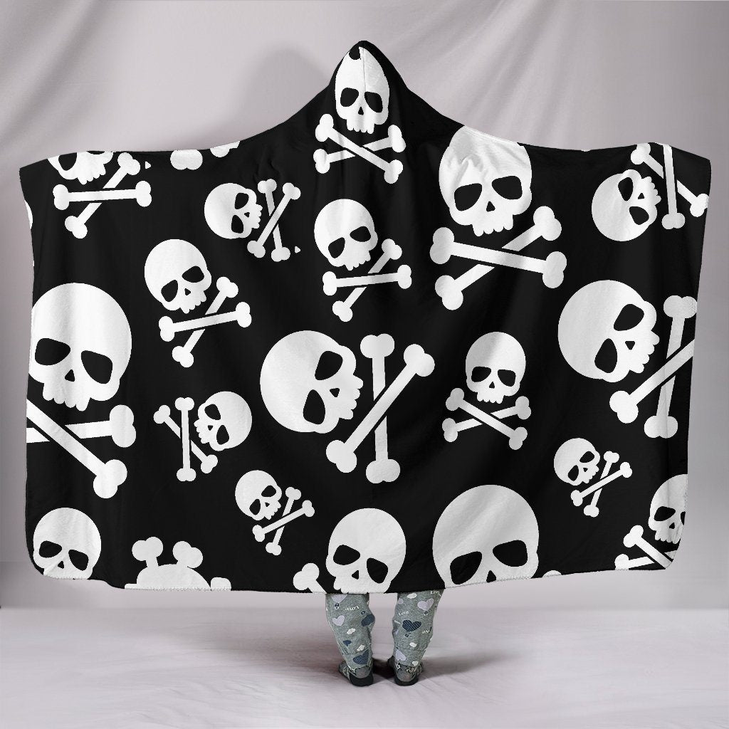 Skull & Crossbones Sherpa Hooded Blanket