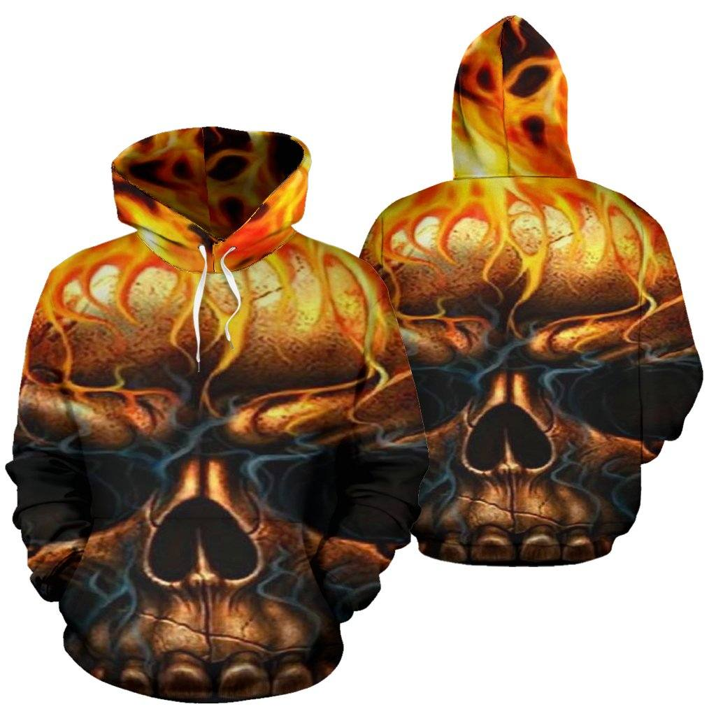Skull Flames All Over Hoodie