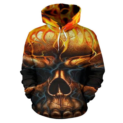 Skull Flames All Over Hoodie - Rebels Depot