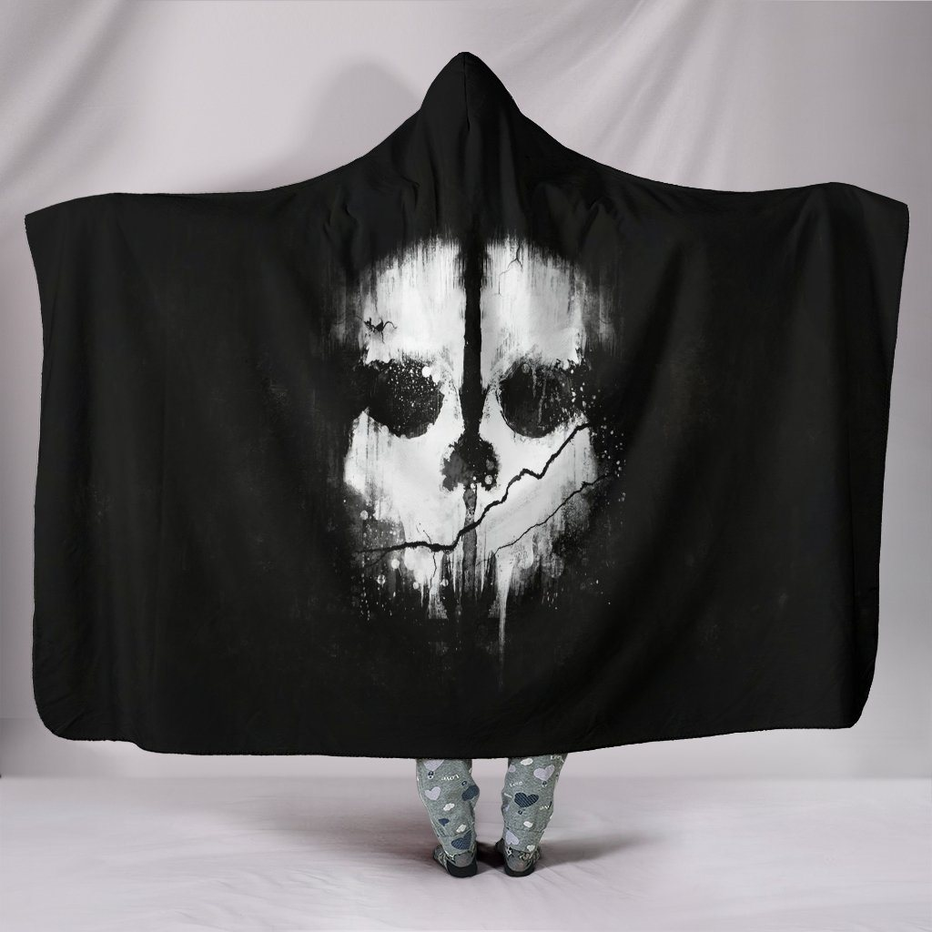 Abstract Skull Sherpa Hooded Blanket