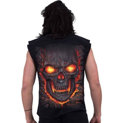 SKULL LAVA Mask of Death Sleeveless Stone Washed Shirt - Rebels Depot
