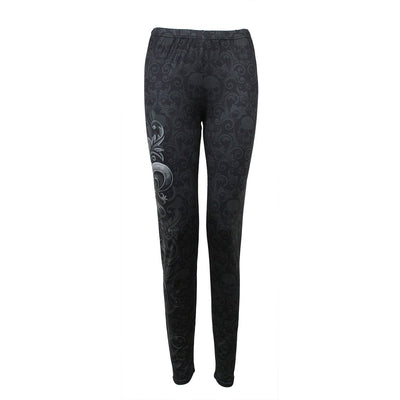 SKULL SCROLL - Allover Comfy Fit Leggings Black - Rebels Depot