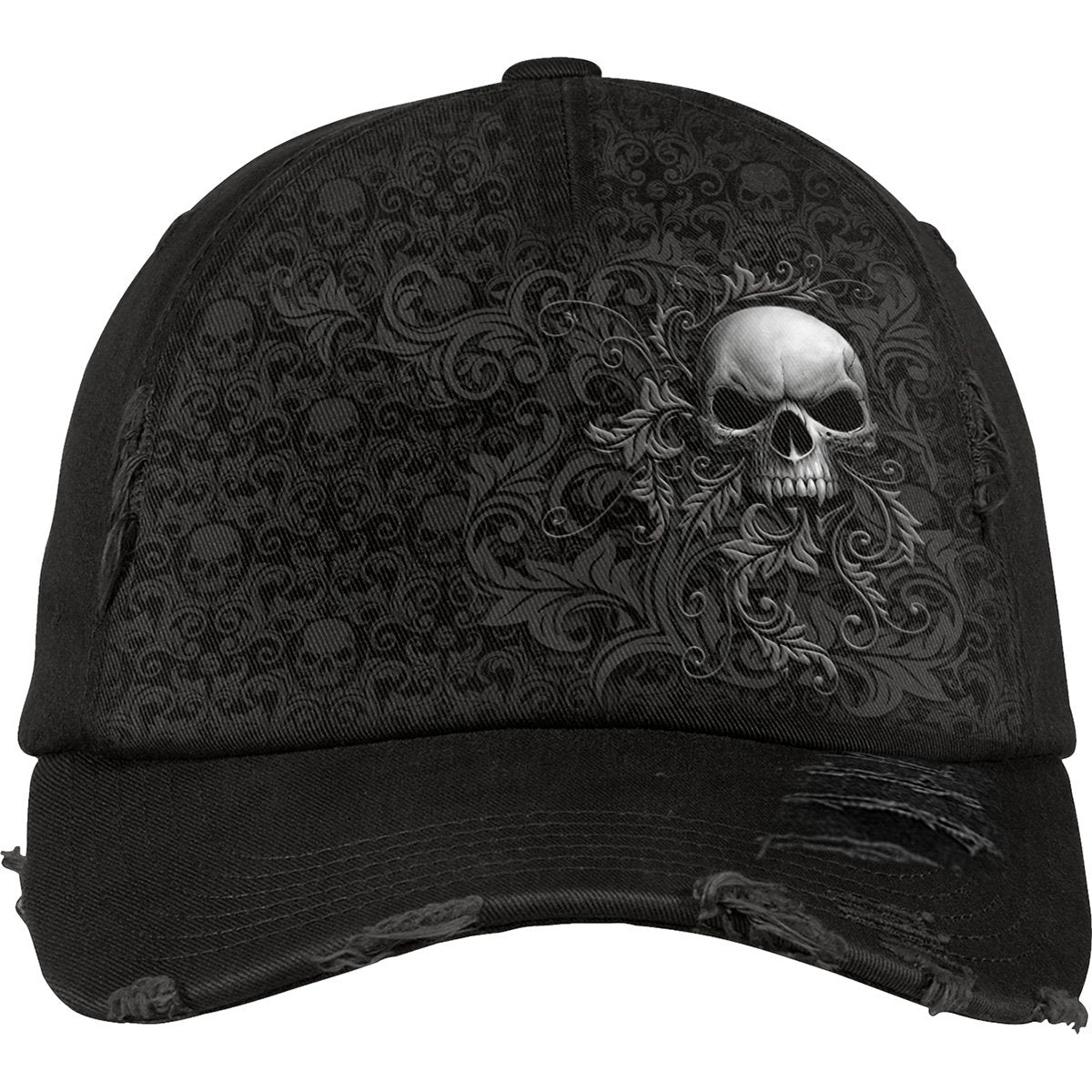 SKULL SCROLL - Distressed Baseball Cap - Rebels Depot