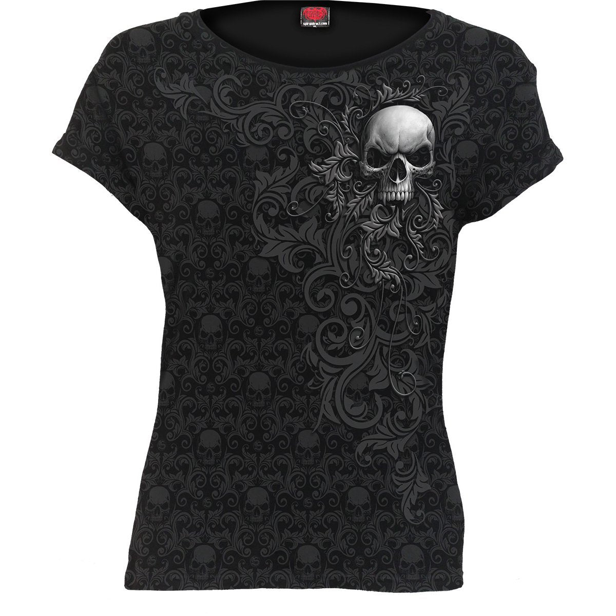 Skull Scroll Women's Black Short Sleeve - Rebels Depot