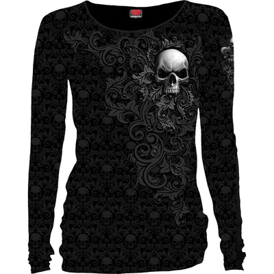 SKULL SCROLL - Scroll Impression Longsleeve Baggy Top - Rebels Depot