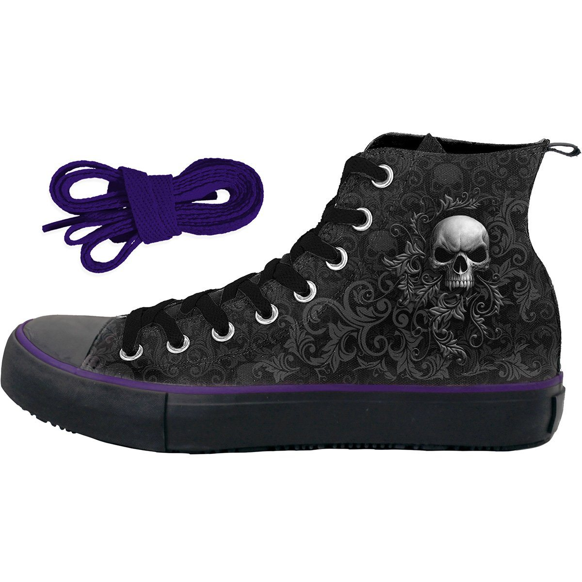 Scrolling Skulls Women's High-Top Sneakers - Rebels Depot