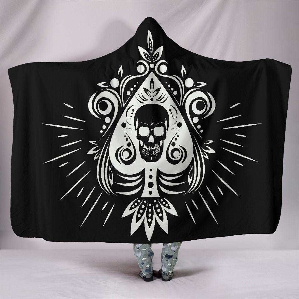 White Tribal Skull Sherpa Hooded Blanket