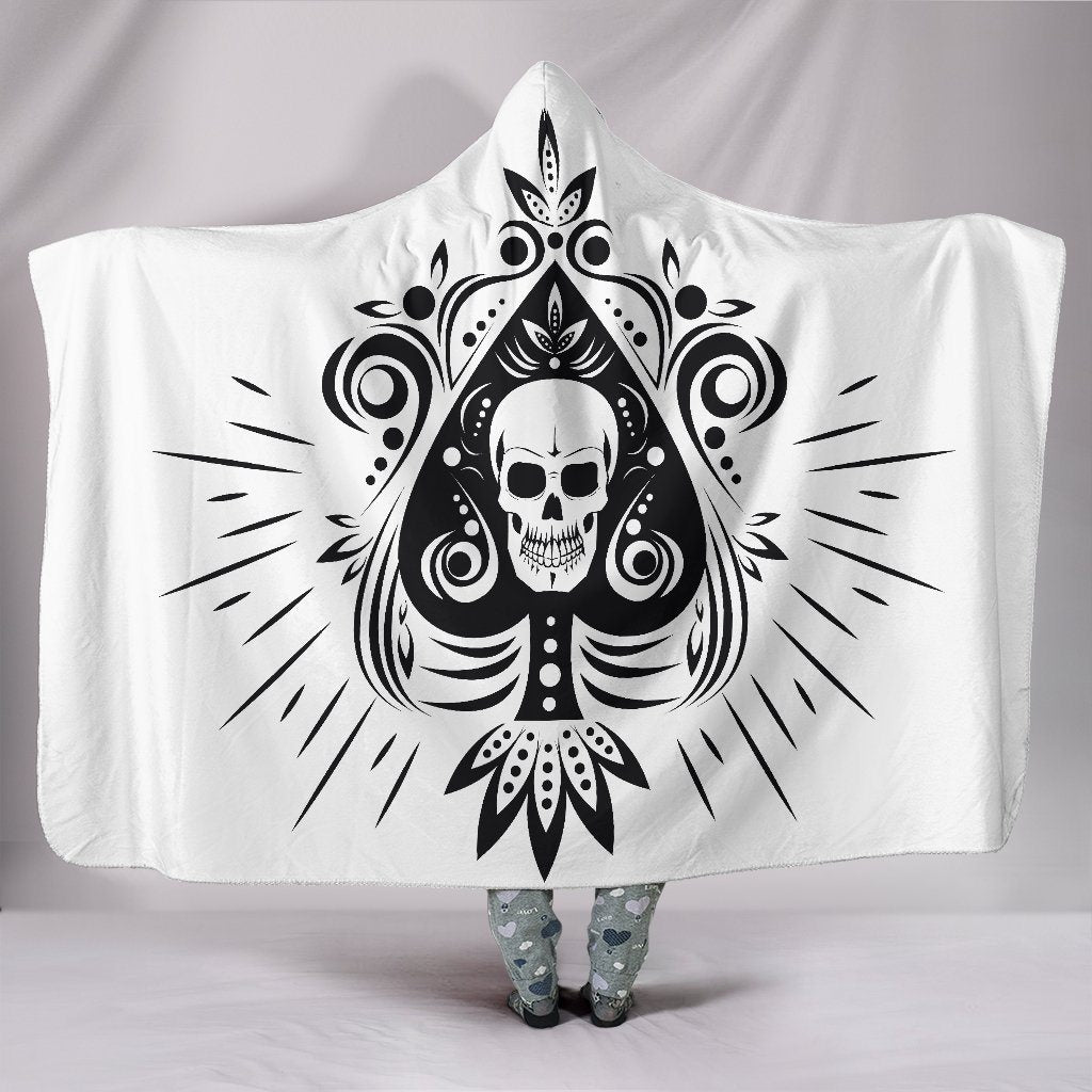 Black Tribal Skull Sherpa Hooded Blanket