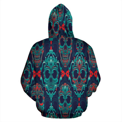 Abstract Skull Zip-Up All Over Hoodie - Rebels Depot