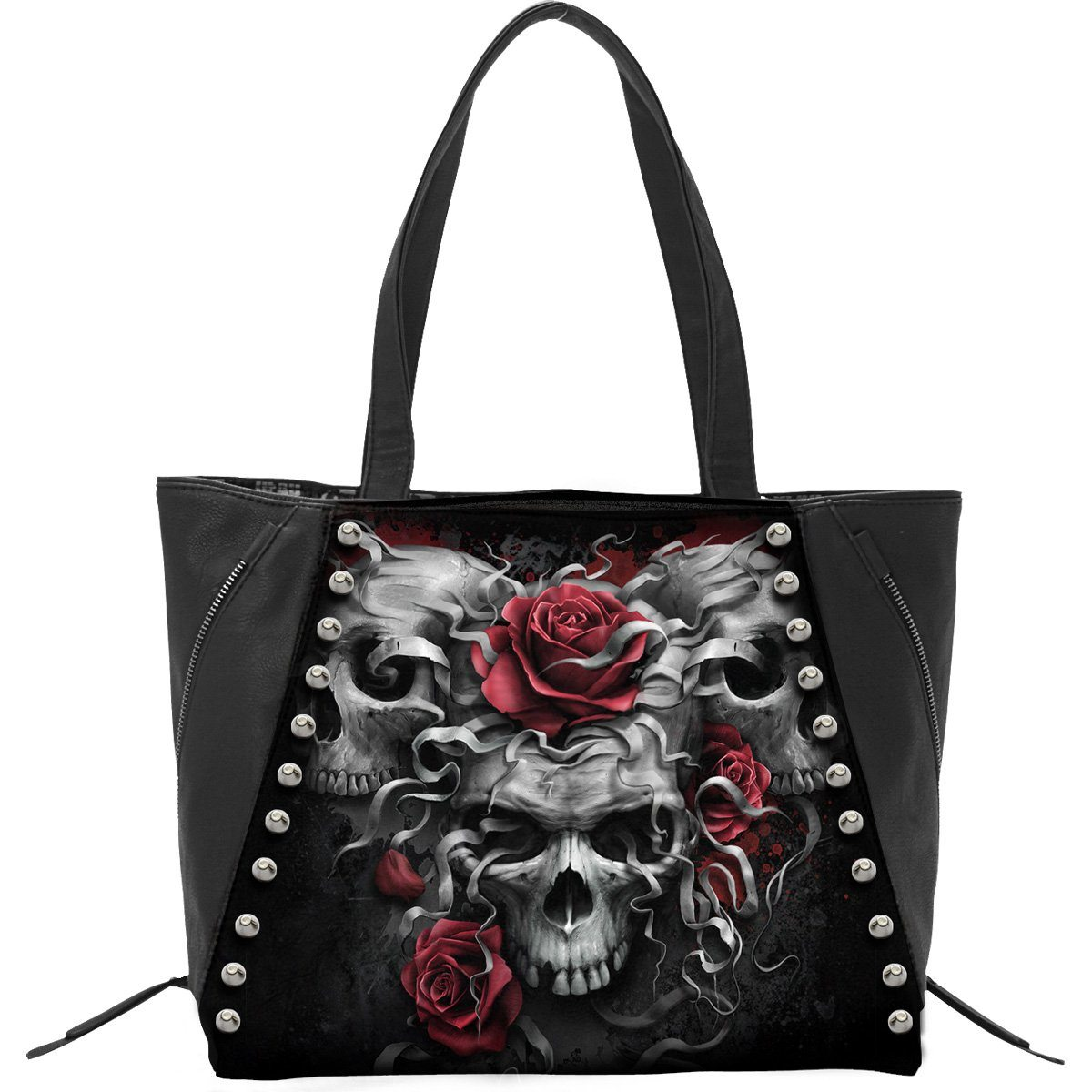 Skulls and Roses Leather Tote Bag