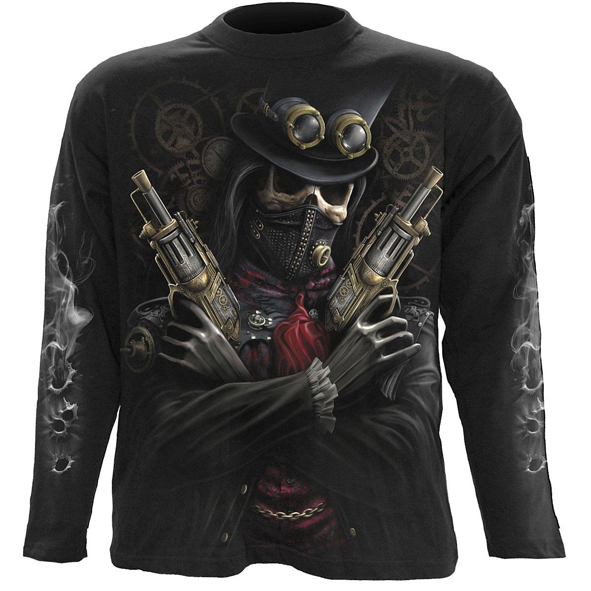 Steampunk Skull Bandit Men's Black Longsleeve Shirt