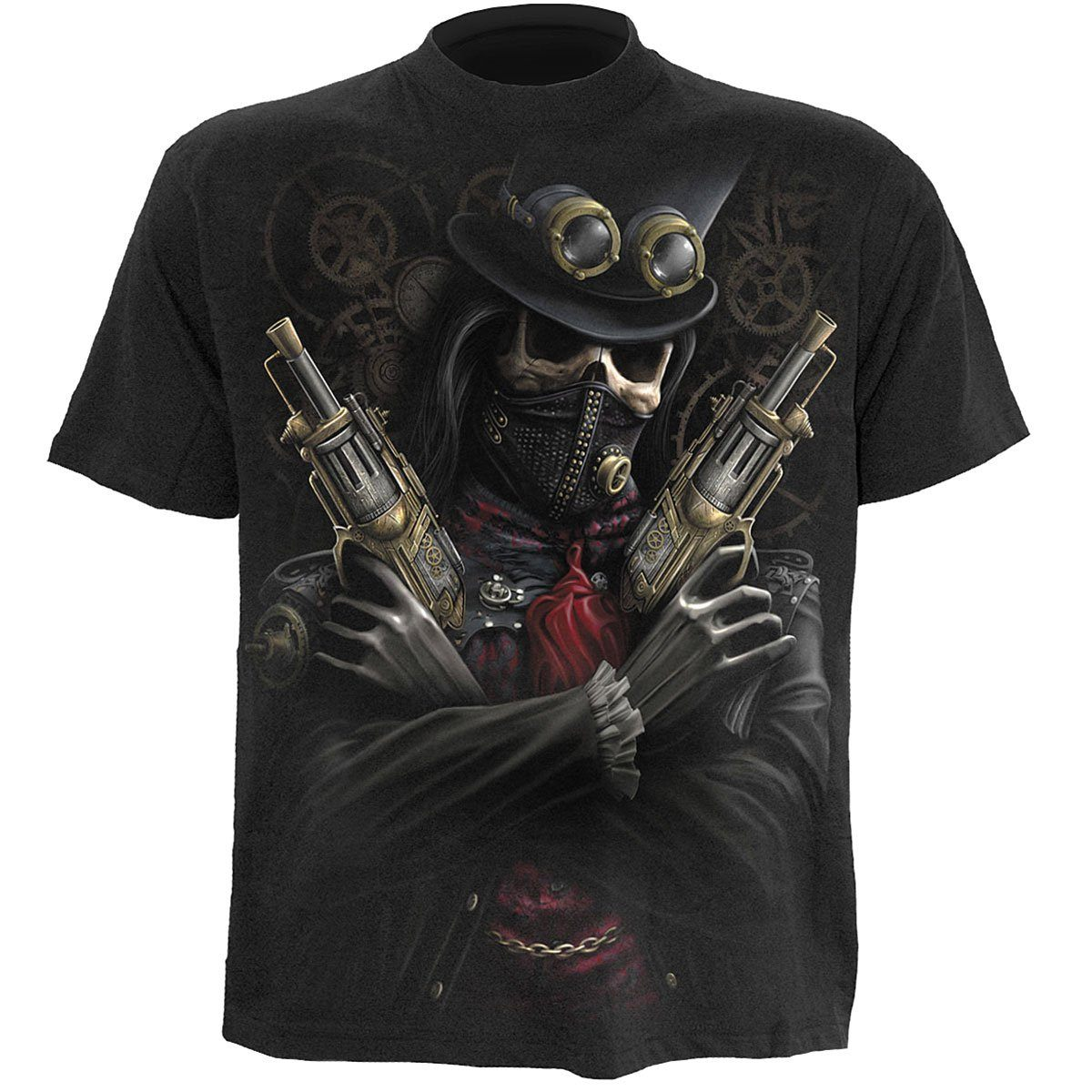Steampunk Skull Bandit Men's Black T-Shirt