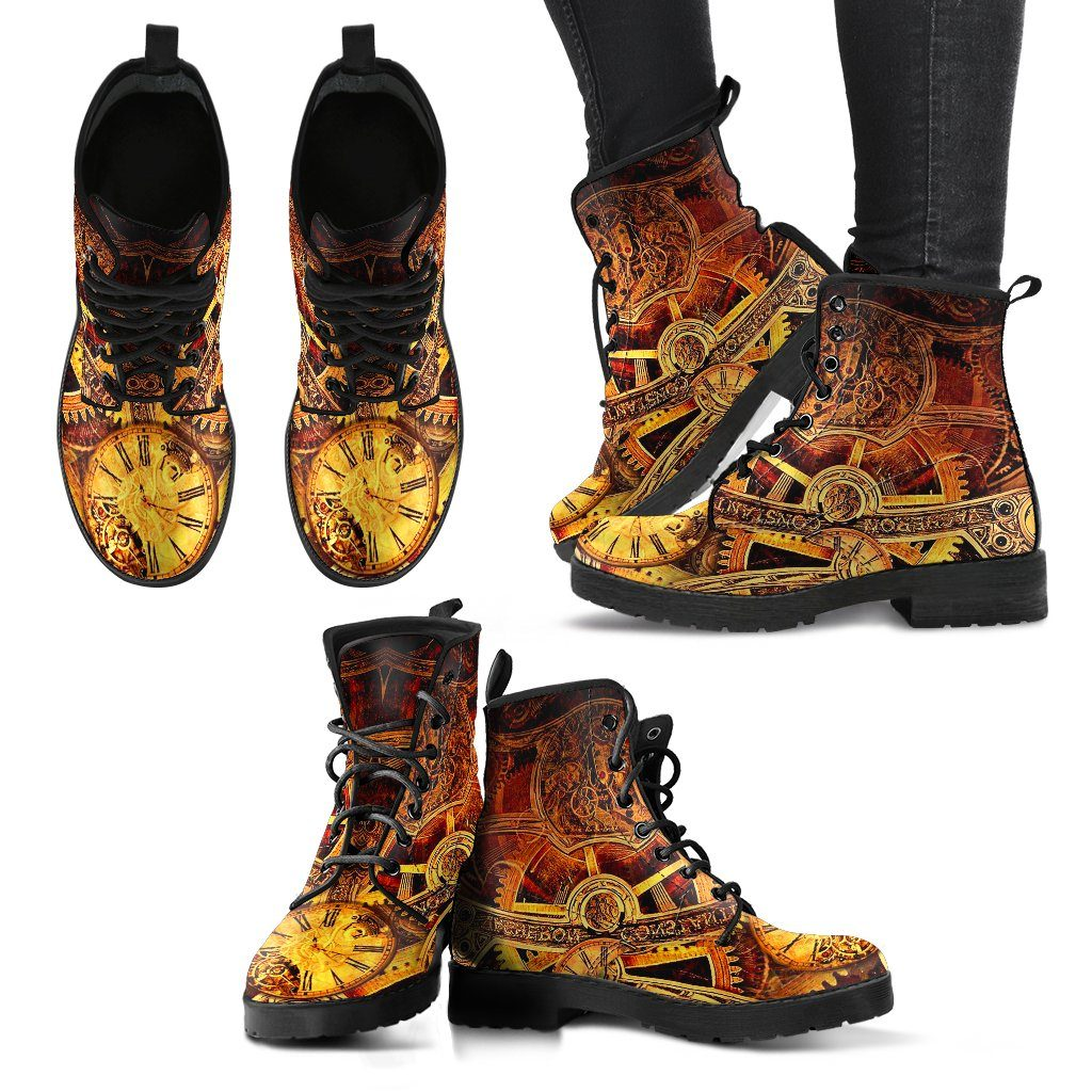 Steampunk Brass Gears Design Women's Leather Boots