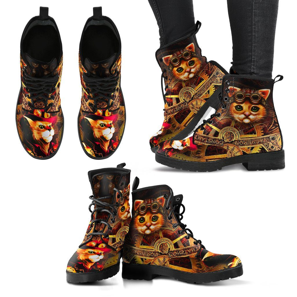 Steampunk Cat With Goggles - Women's Leather Boots