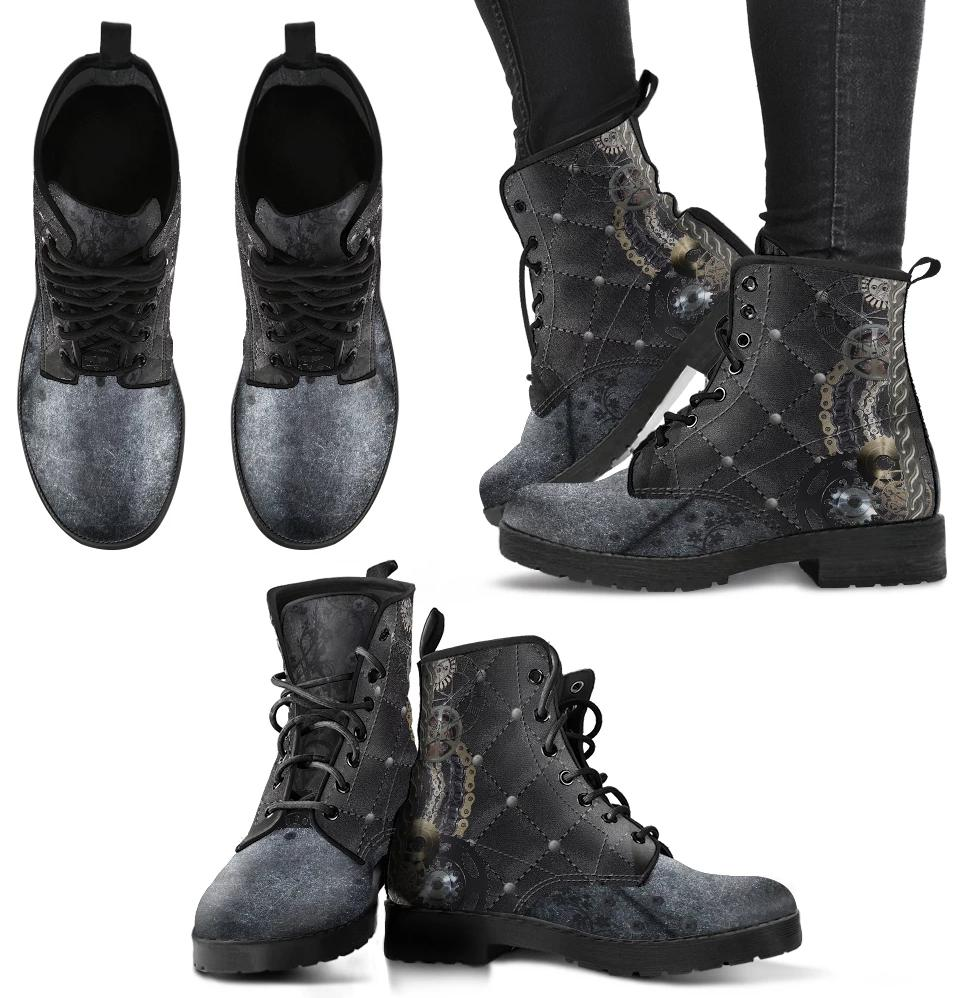 Steampunk Quilted Design Women's Leather Boots