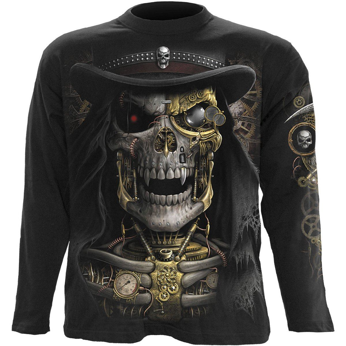 Steampunk Grim Reaper Men's Black Longsleeve Shirt