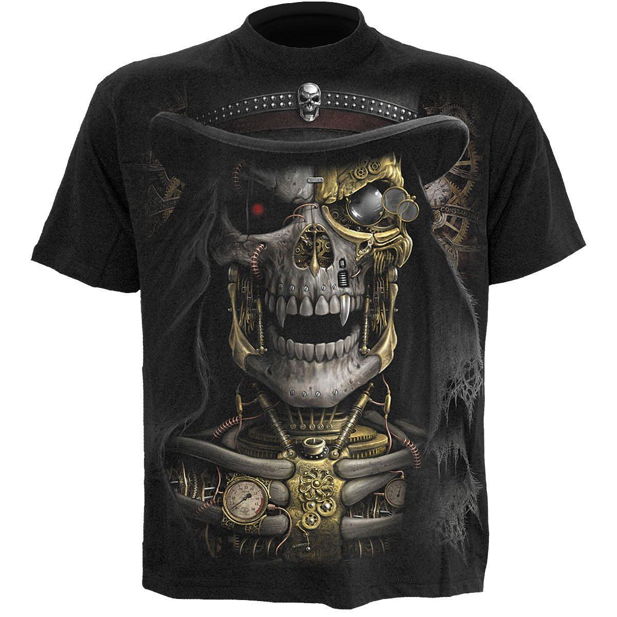 Steampunk Grim Reaper Men's Black T-Shirt