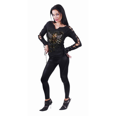 Steampunk Heart Women's Black Laceup Longsleeve Top - Rebels Depot