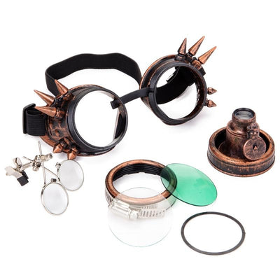 Steampunk Round Magnify Goggles With Light - Rebels Depot