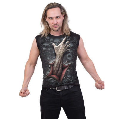 Skull Strangler Men's Black Sleeveless Shirt - Rebels Depot
