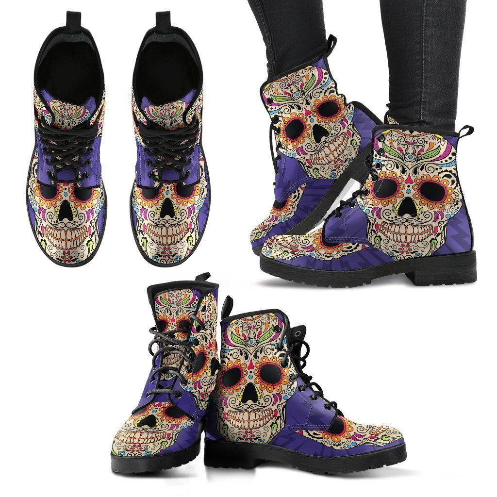Purple Sugar Skull Handcrafted - Womens Leather Boots