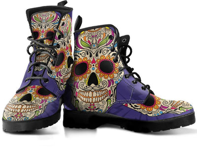 Purple Sugar Skull Handcrafted - Womens Leather Boots - Rebels Depot