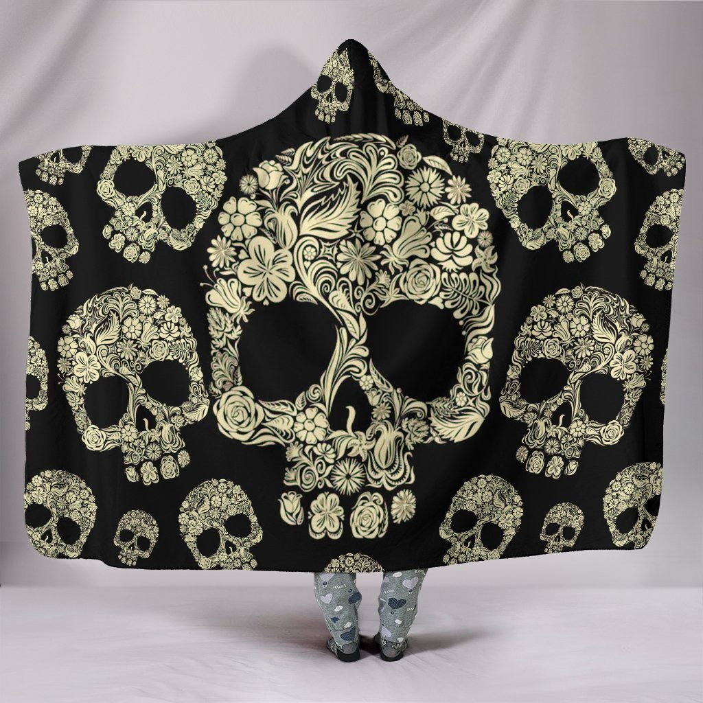 Floral Sugar Skulls Sherpa Hooded Blanket
