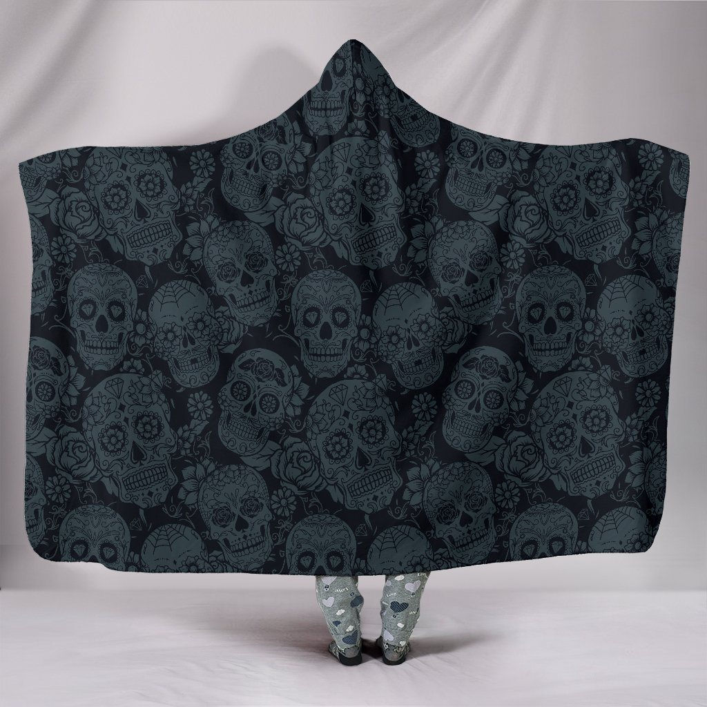 Sugar Skulls Sherpa Hooded Blanket