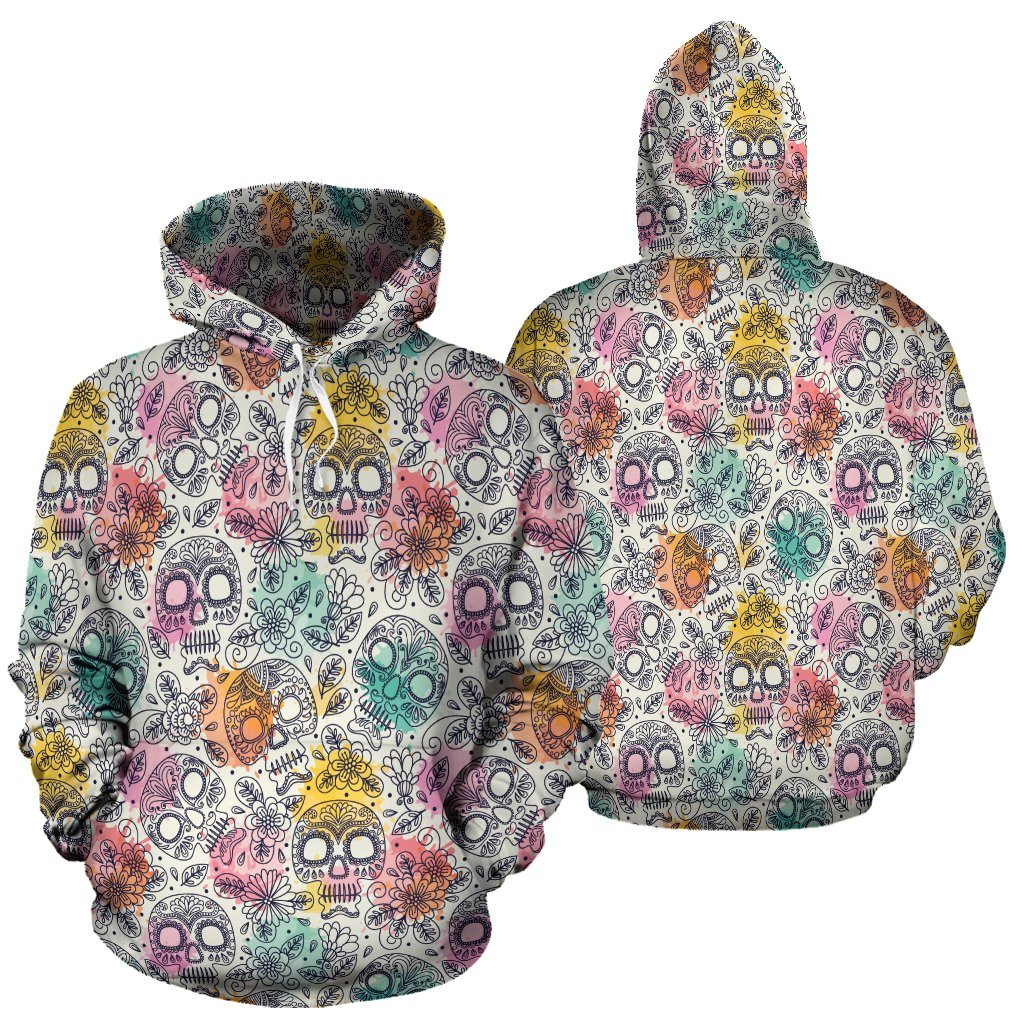 Watercolor Sugar Skull All Over Hoodie - Rebels Depot