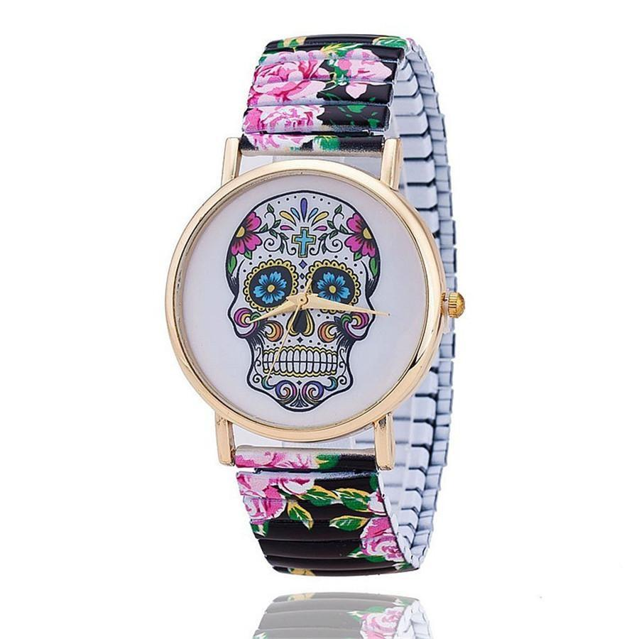 Sugar Skull Watch - Floral Strap - Rebels Depot
