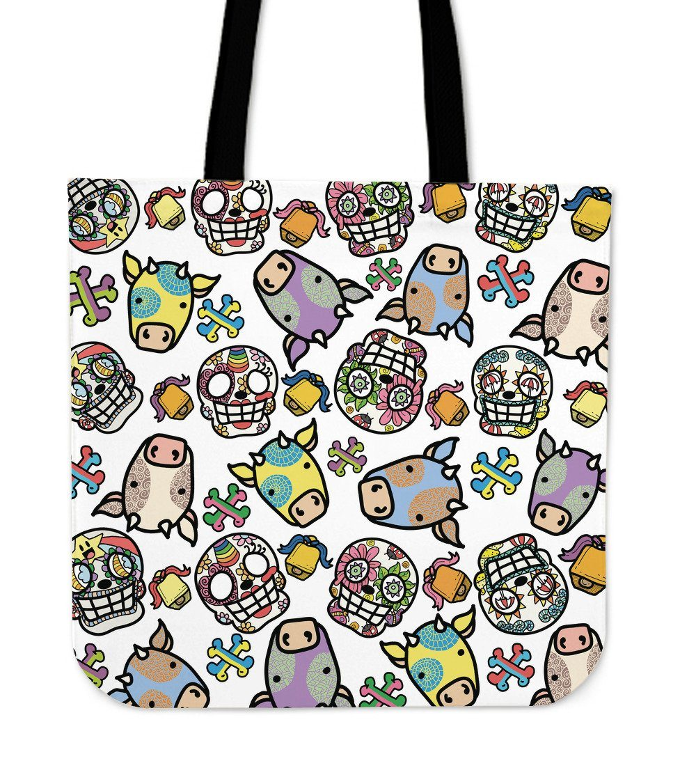 Sugar Skulls & Cows Cloth Tote Bag