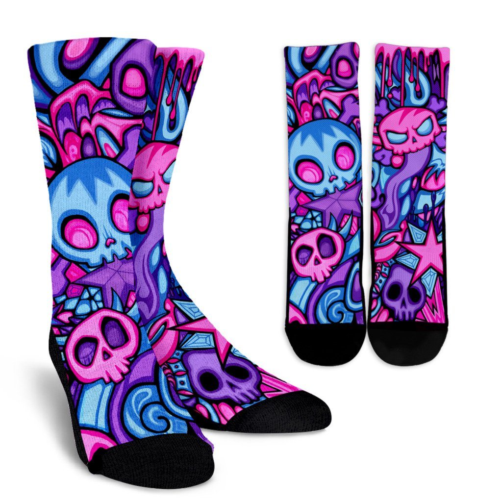 Swirly Skulls Artistic Crew Socks - Rebels Depot