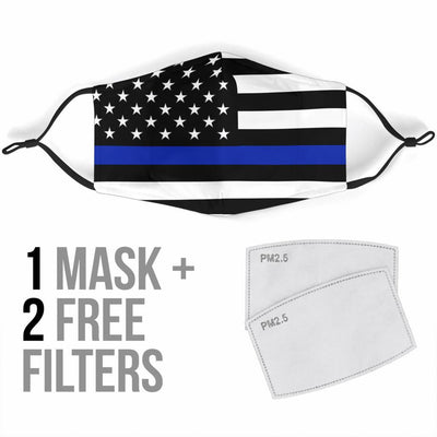 Thin Blue Line USA Flag Reusable Face Mask - Rebels Depot