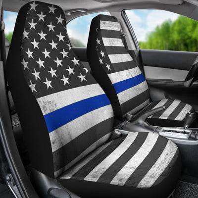 Thin Blue Line USA Flag Car Seat Covers - Rebels Depot