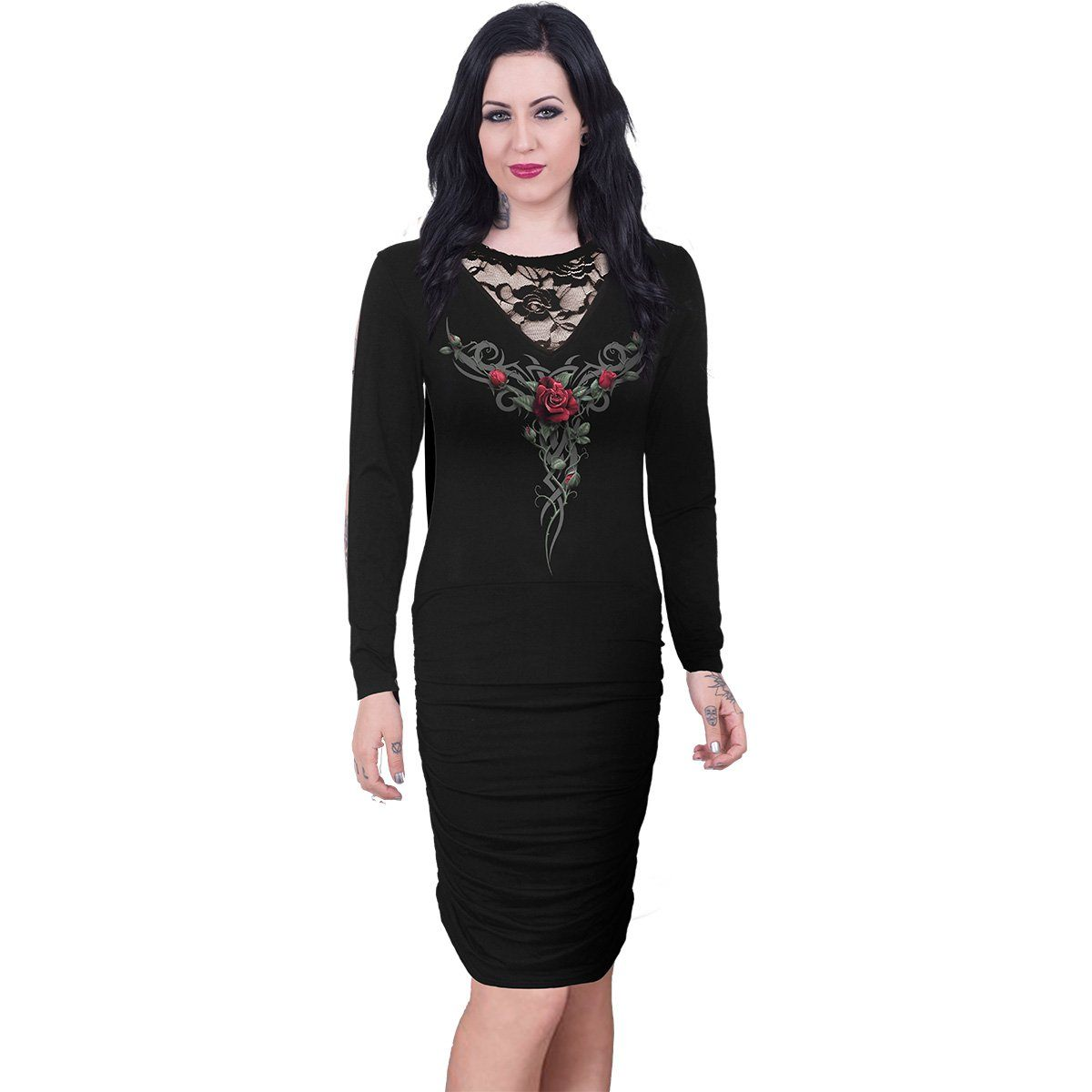 Tribal Rose Gathered Midi Black Dress