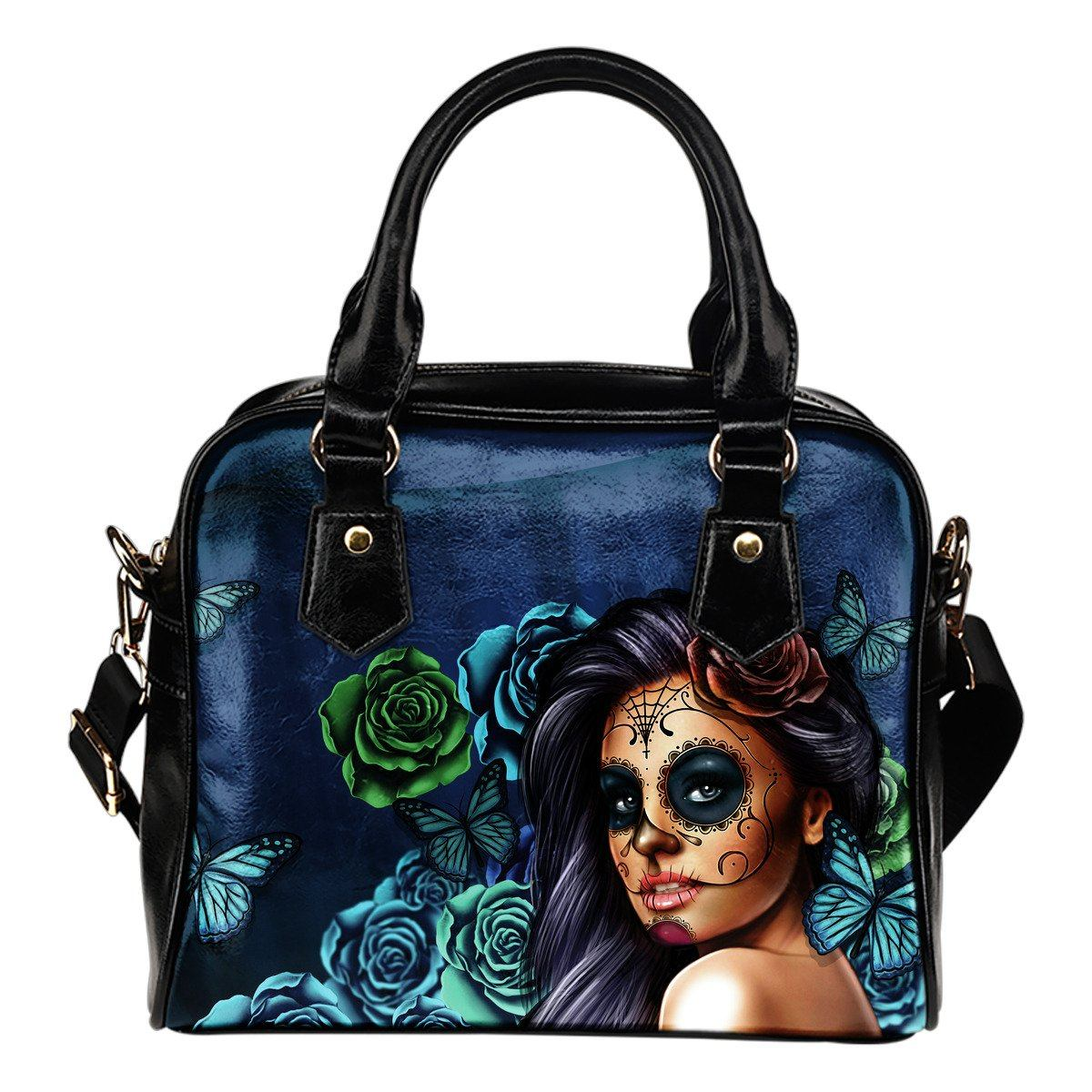 Day of The Dead Turquoise Leather Handbag