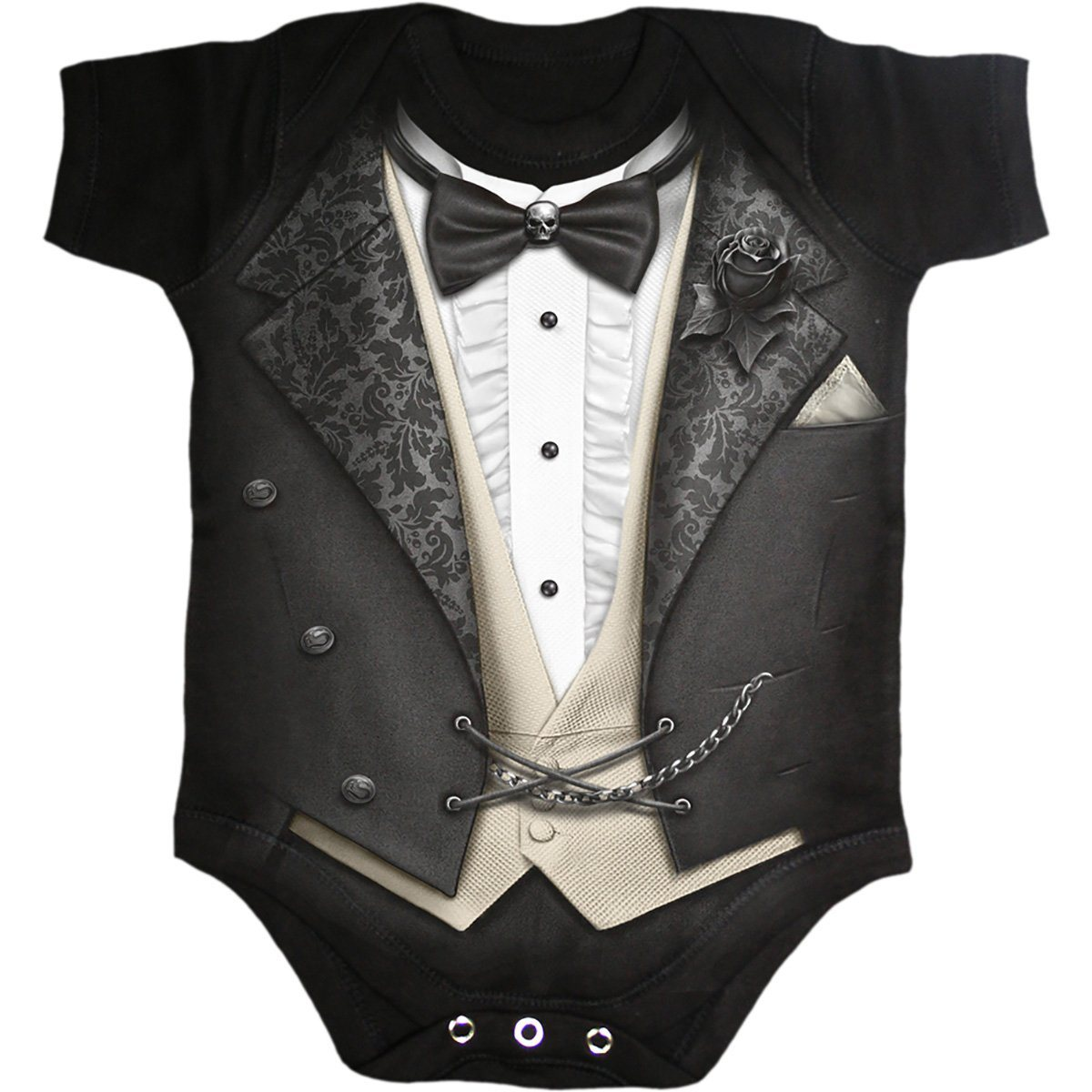 TUXED - Bowtie and Black Rose Baby Onesie - Rebels Depot
