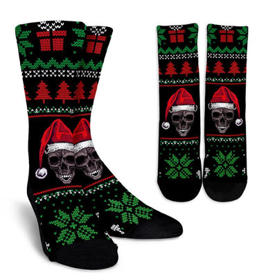 Ugly Christmas Santa Skull Crew Socks - Rebels Depot