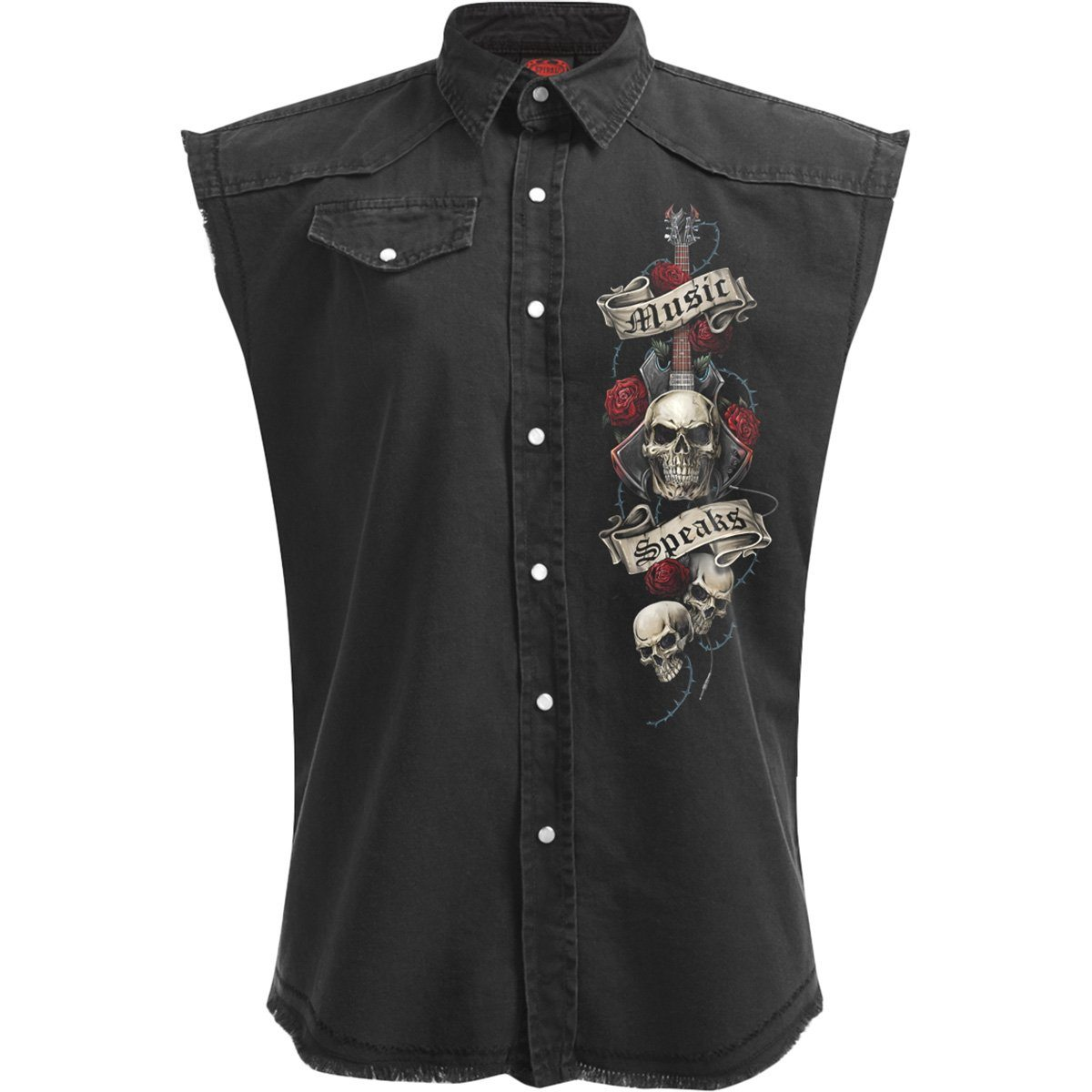 Heavy Metal Skulls Men's Black Sleeveless Shirt