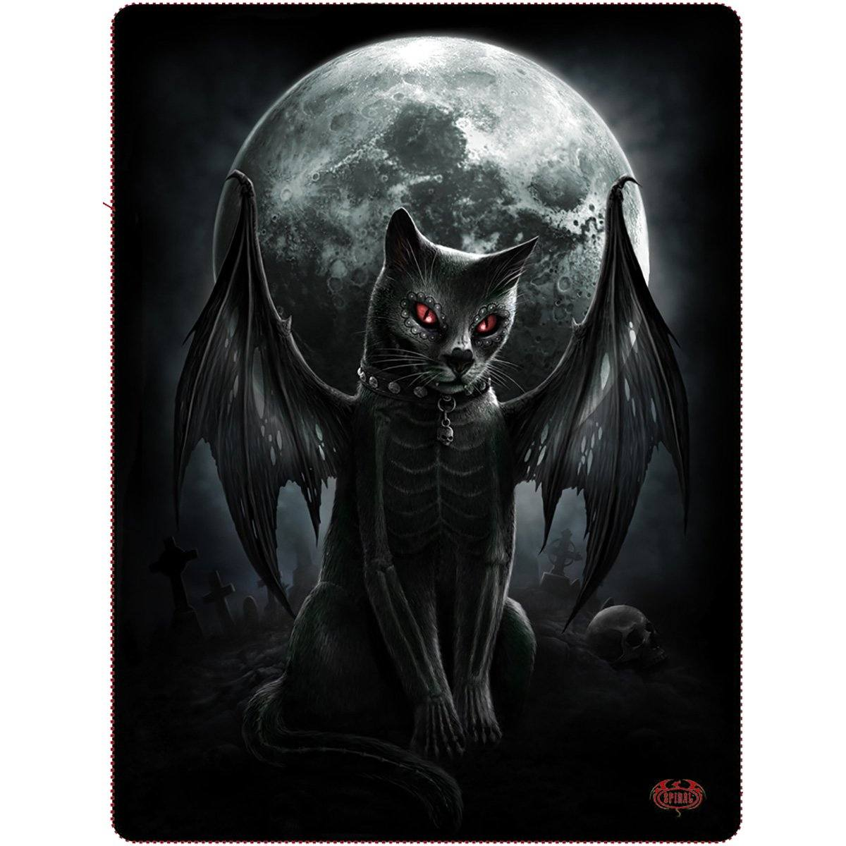 Gothic Vampire Cat Fleece Blanket