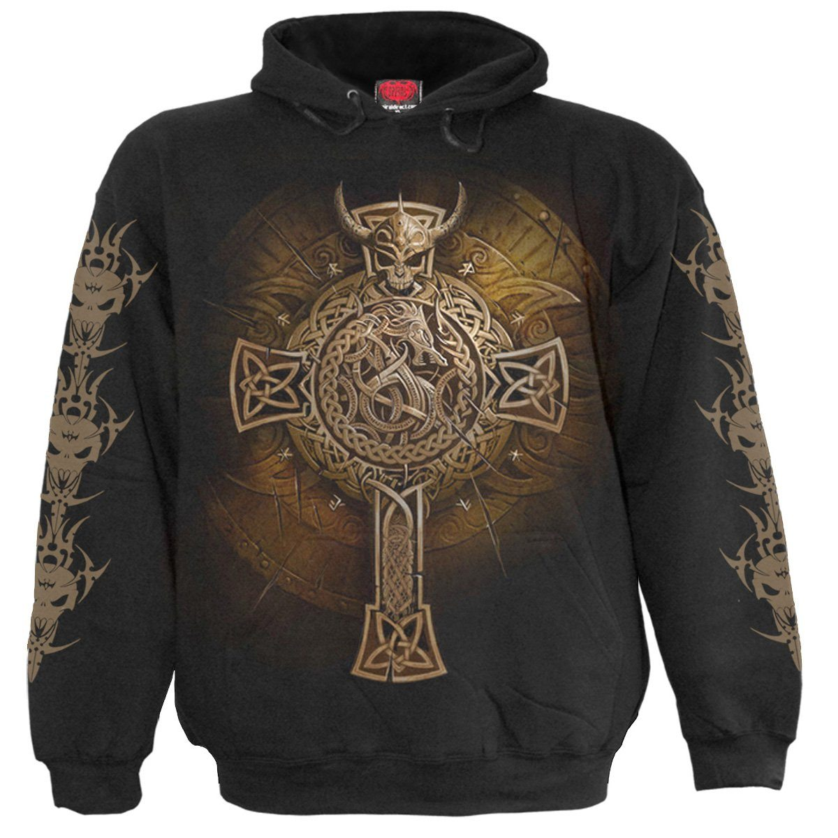 Viking Warrior Shield Black Hoodie