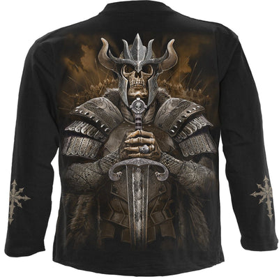 Viking Skull Warrior Men's Black Longsleeve Shirt - Rebels Depot