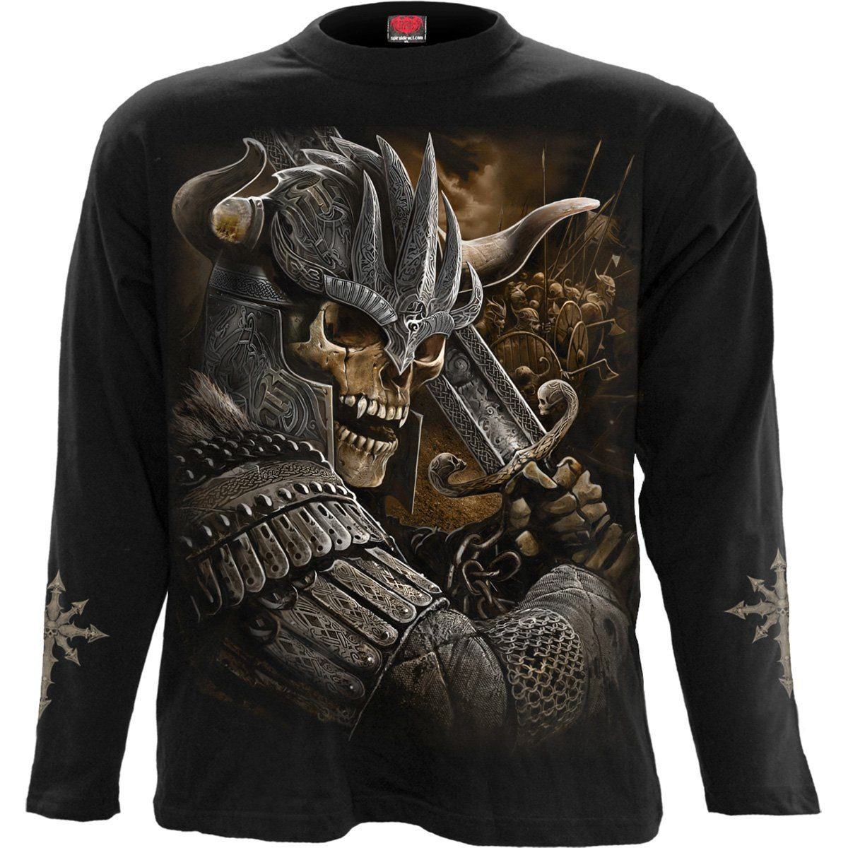 Viking Skull Warrior Men's Black Longsleeve Shirt
