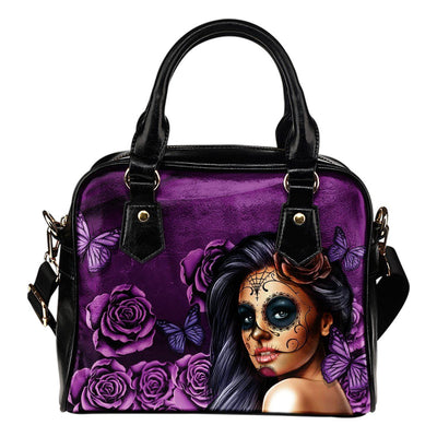 Day Of The Dead Violet Leather Handbag - Rebels Depot