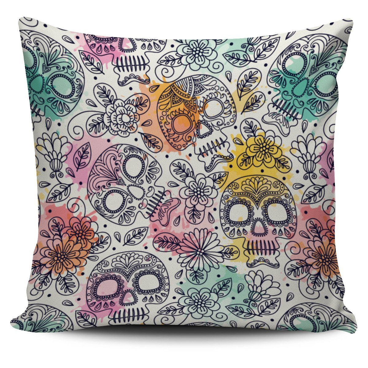 Watercolor Sugar Skulls Pillow Cover