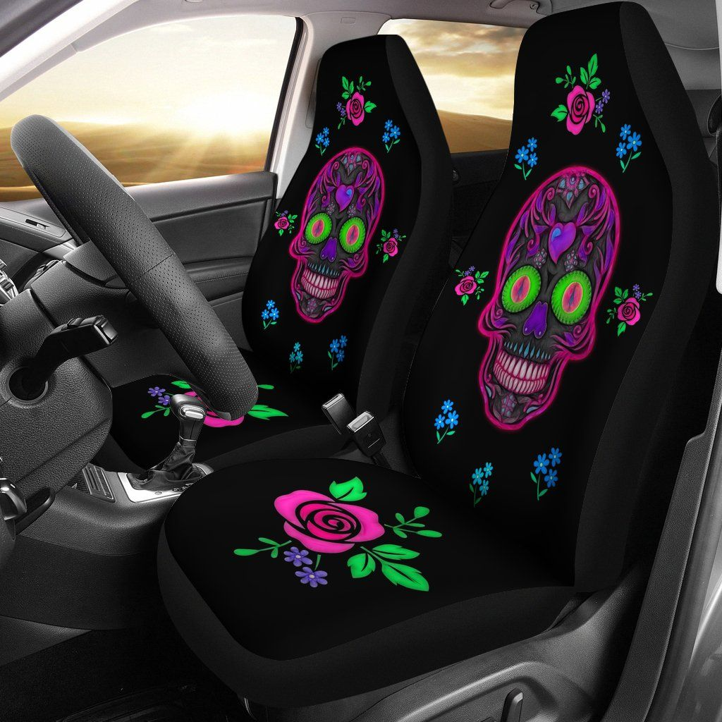 Wicked Sugar Skulls Car Seat Covers - Rebels Depot
