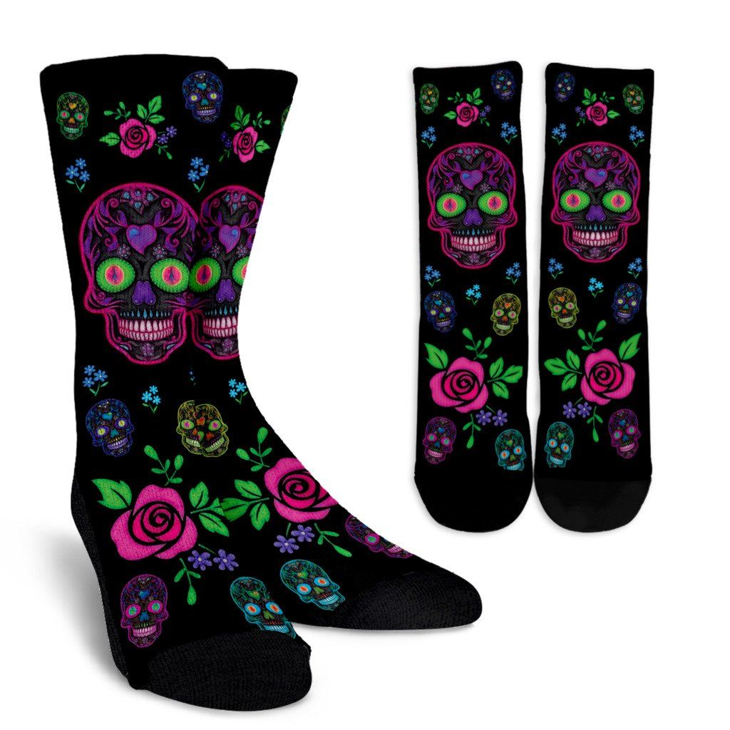 Neon Sugar Skulls Crew Socks - Rebels Depot
