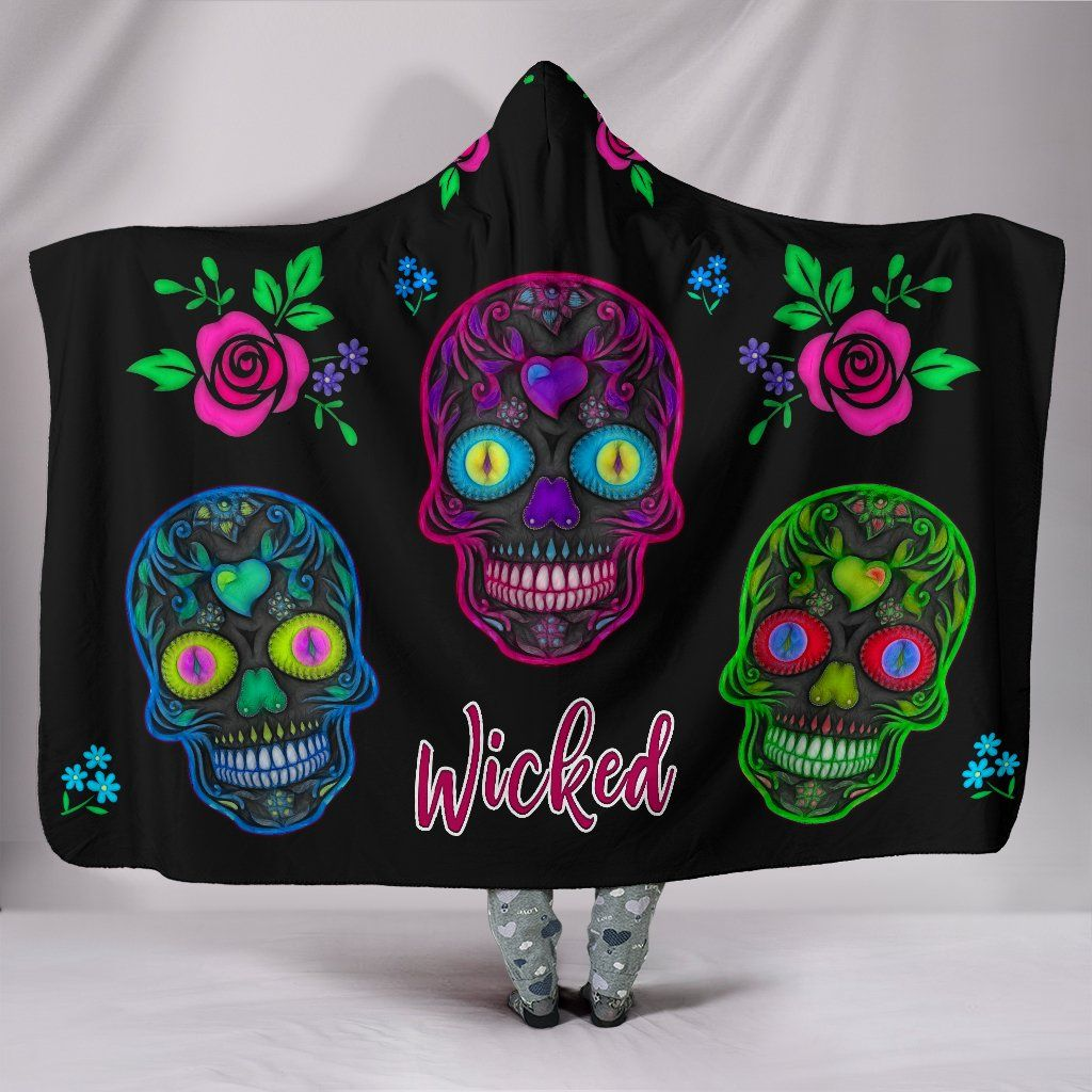 Wicked Sugar Skulls Sherpa Hooded Blanket - Rebels Depot