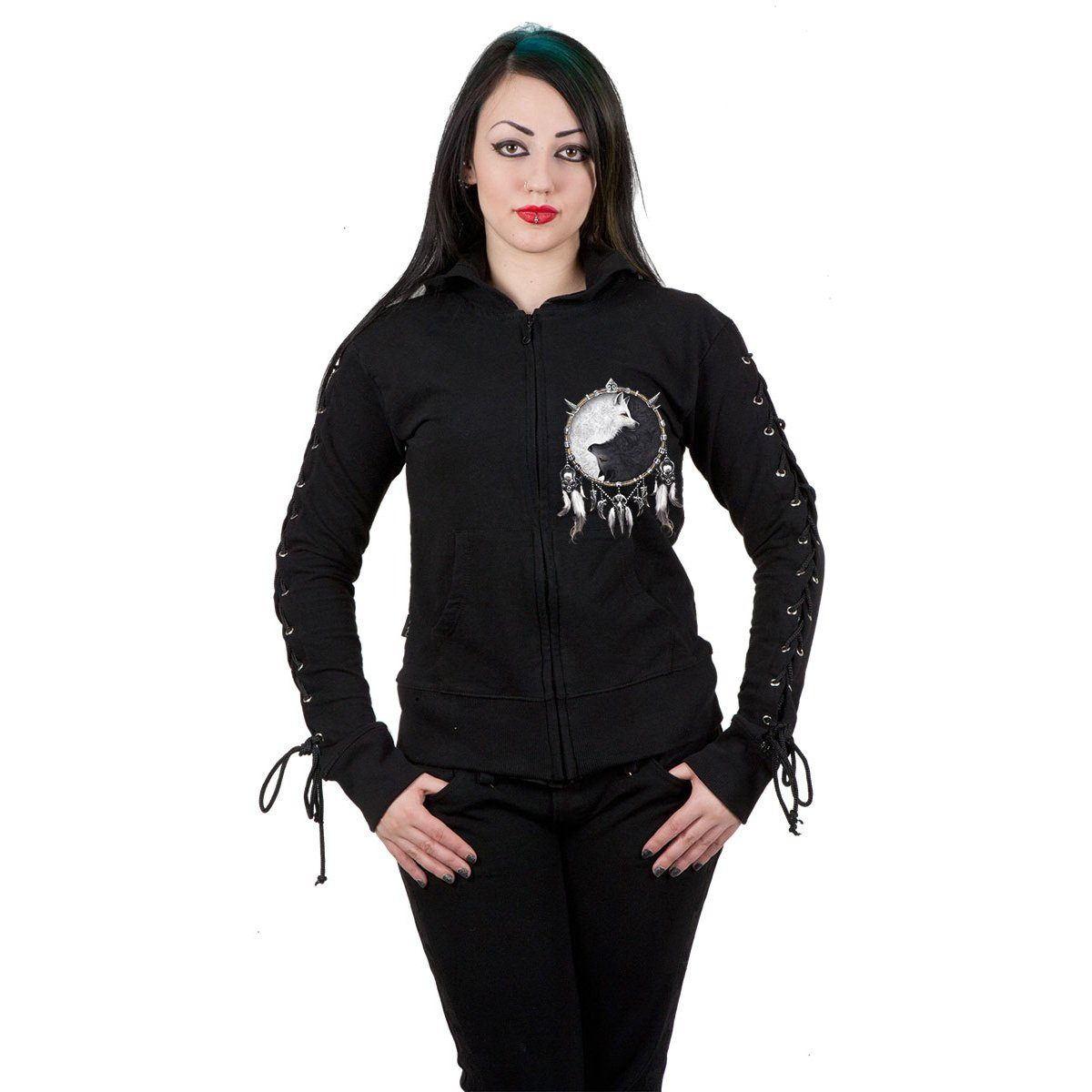 Wolf Dreamcatcher Lace Up Black Hoodie