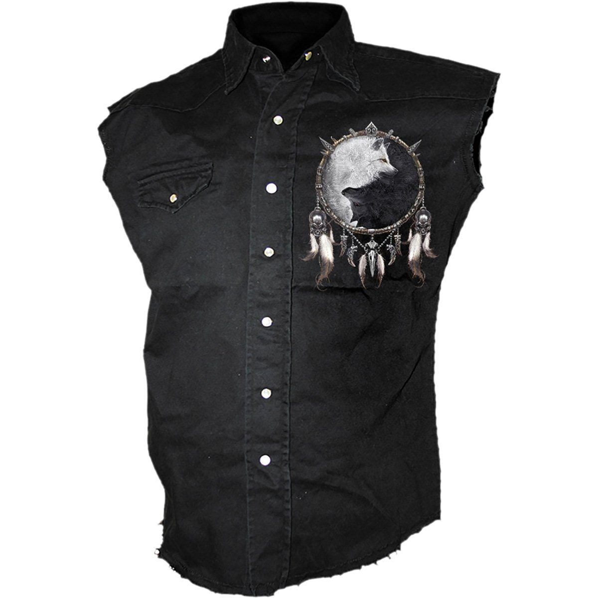 Wolf Dreamcatcher Men's Black Sleeveless Shirt